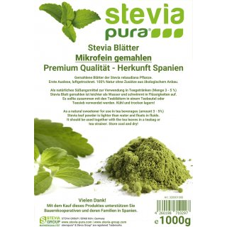 Stevia leaves - PREMIUM QUALITY - Stevia rebaudiana, microfine ground 1kg